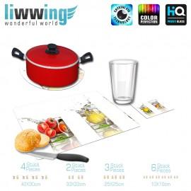 Küchenset komplett no. 3953 | Kulinarisches Orange, Zitrone, Spritzer, Tropfen, Glas natural | liwwing (R)