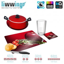 Küchenset komplett no. 3954 | Kulinarisches Apfel, Spritzer, Tropfen rot | liwwing (R)