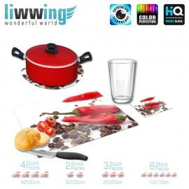 Küchenset komplett no. 3955 | Kulinarisches Chili, Pfeffer, Körner, Korn natural | liwwing (R)