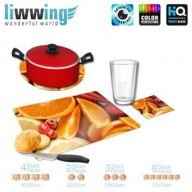 Küchenset komplett no. 3956 | Kulinarisches Zitronen, Orangen, Erdbeeren, Limetten natural | liwwing (R)