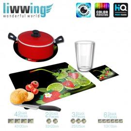 Küchenset komplett no. 4198 | Cartoon Erdbeere, Strohhalm, Cocktail, Glas bunt | liwwing (R)