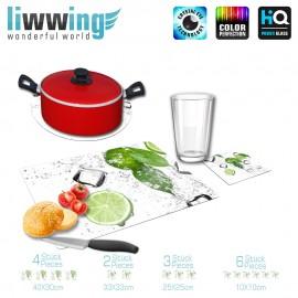 Küchenset komplett no. 4199 | Kulinarisches Limette, Blatt, Spritzer, Eis, Würfel, Tropfen natural | liwwing (R)