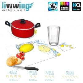 Küchenset komplett no. 4200 | Kulinarisches Zitrone, Tropfen, Spritzer, Welle natural | liwwing (R)