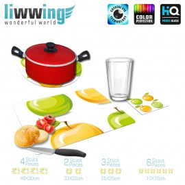 Küchenset komplett no. 4201 | Cartoon Apfel, Blatt grün | liwwing (R)