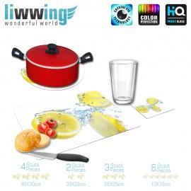 Küchenset komplett no. 4202 | Kulinarisches Zitrone, Tropfen, Welle, Scheibe natural | liwwing (R)