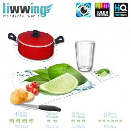 Küchenset komplett no. 4203 | Kulinarisches Limette, Tropfen, Spritzer, Blatt grün | liwwing (R)