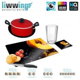 Küchenset komplett no. 4204 | Kulinarisches Pfirsich, Kern, Tropfen, Tau, Spiegel gelb | liwwing (R)
