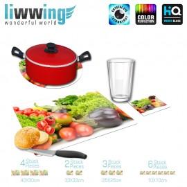 Küchenset komplett no. 4206 | Kulinarisches Apfel, Blumenkohl, Erdbeere, Aubergine natural | liwwing (R)