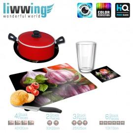 Küchenset komplett no. 4207 | Kulinarisches Knoblauch, Tomate, Basilikum, Spiegel natural | liwwing (R)