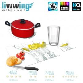 Küchenset komplett no. 4208 | Kulinarisches Zitrone, Tropfen, Spritzer, Scheibe natural | liwwing (R)