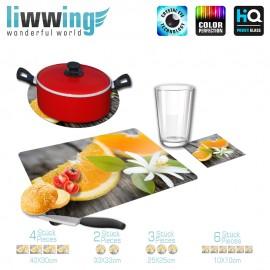 Küchenset komplett no. 4209 | Kulinarisches Orange, Spalte, Blüte, Baumstamm natural | liwwing (R)
