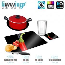 Küchenset komplett no. 4211 | Kulinarisches Chili, Schote, Dampf, Rauch, Smokin' Hot rot | liwwing (R)