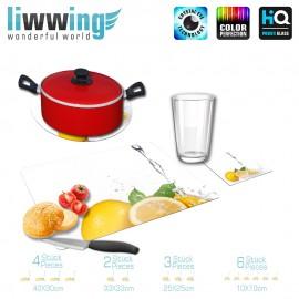 Küchenset komplett no. 4212 | Kulinarisches Zitrone, Tropfen, Spritzer, Welle natural | liwwing (R)