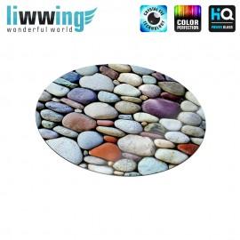 Glas-Topfuntersetzer Set no. 3601 | Landschaft Steinwand, Steine, Kiesel, Stone wall, Stones, pebble bunt | liwwing (R)