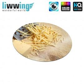 Glas-Topfuntersetzer Set no. 3602 | Kulinarisches Käse, Reibekäse, Brett, Cheese, Grated Cheese, Board natural | liwwing (R)