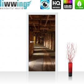 "Tür Fototapete ""Salt Mine"" | 100x211 cm | Salzbergwerk braun Holz Bergwerk rustikal Balken 3D Tunnel | liwwing (R)"
