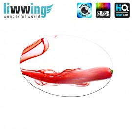 Glas-Topfuntersetzer Set no. 3585 | Kulinarisches Paprika, Rot, Scharf, Rauch, Smoke, Red, Spicy natural | liwwing (R)
