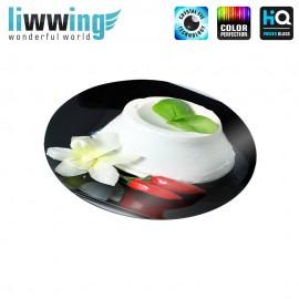 Glas-Topfuntersetzer Set no. 3603 | Kulinarisches Ricotta, Chili, Blüte natural | liwwing (R)