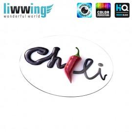 Glas-Topfuntersetzer Set no. 3604 | Kulinarisches Chili, Schokolade, Chocolate rot | liwwing (R)