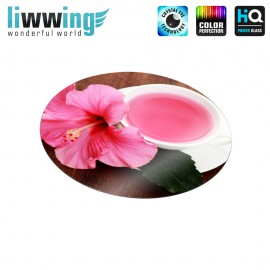 Glas-Topfuntersetzer Set no. 3607 | Kulinarisches Tasse, Tee, Hibiskus, Cup, Tea, Hibiscus rosa | liwwing (R)