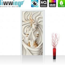 "Tür Fototapete ""A Perfect Woman"" | 100x211 cm | Frau Erotik Gold elegant 3D Wand | liwwing (R)"