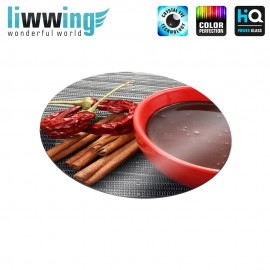 Glas-Topfuntersetzer Set no. 3613 | Kulinarisches Schokolade, Zimt, Chili natural | liwwing (R)