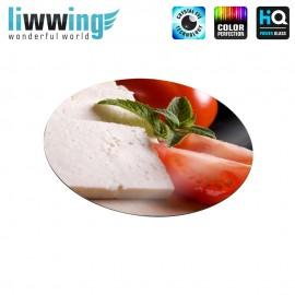 Glas-Topfuntersetzer Set no. 3595 | Speisen Käse, Tomaten, Minze, Cheese, Tomatoes, Mint natural | liwwing (R)