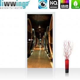 "Tür Fototapete ""Old Wine Barrels"" | 100x211 cm | Weinkeller Weinfässer Fass Fässer Keller Stollen | liwwing (R)"