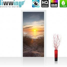 "Tür Fototapete ""North Sea Sunset"" | 100x211 cm | Strand Meer Ostsee Beach Blau Himmel Sonne Sommer | liwwing (R)"