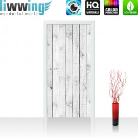 """Tür Fototapete """"White painted Wooden Wall"""" 