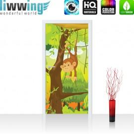 "Tür Fototapete ""Jungle Animals Monkeys"" | 100x211 cm | Kinderzimmer Safari Comic Affen Dschungel | liwwing (R)"