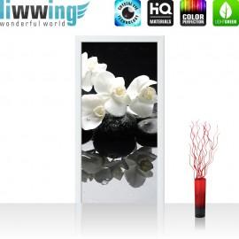 "Tür Fototapete ""White Orchids an Black Stones"" | 100x211 cm | Orchidee Blumen Blumenranke Rosa Natur | liwwing (R)"