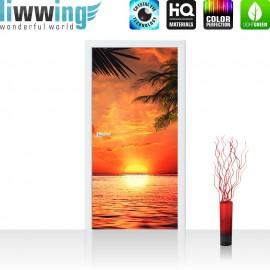"Tür Fototapete ""Caribbean Sundown"" | 100x211 cm | Sonnenaufgang Meer Strand Beach Palmen | liwwing (R)"