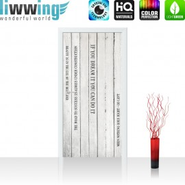 "Tür Fototapete ""Words on Wooden Wall II"" | 100x211 cm | Holzoptik Holzwand Paneel mit Text weiß Brett | liwwing (R)"