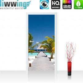"Tür Fototapete ""no. 165"" | 100x211 cm | Strand Meer Nordsee Ostsee Beach Urlaub Blau Palmen | liwwing (R)"