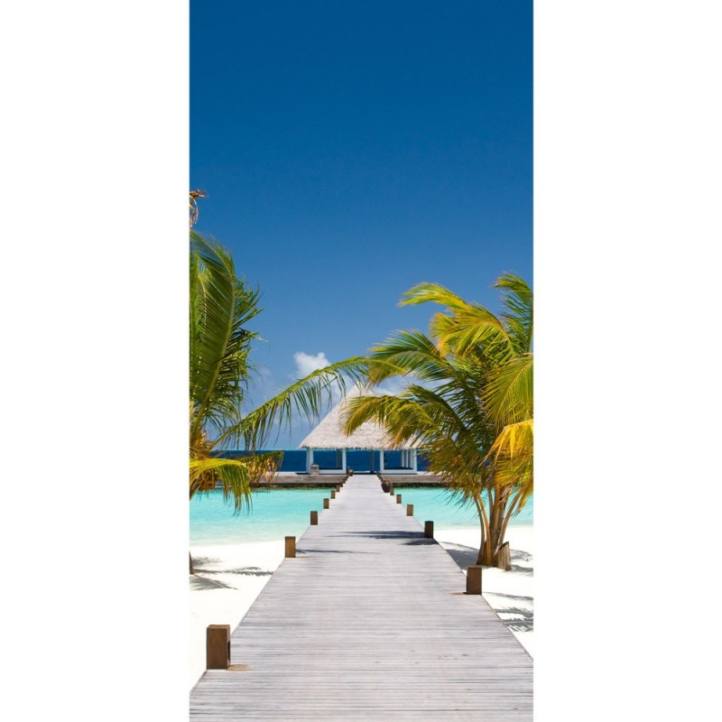 t r fototapete no 165 100x211 cm strand meer nordsee ostsee beach urlaub blau palmen. Black Bedroom Furniture Sets. Home Design Ideas