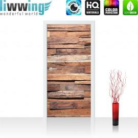 "Tür Fototapete ""no. 174"" | 100x211 cm | Holzwand Steinoptik Holz Wand Mauer Holztapete | liwwing (R)"
