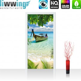 "Tür Fototapete ""no. 649"" | 91x211 cm | Strand Meer Boot Palme Wolken | liwwing (R)"