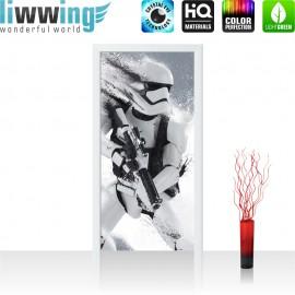 "Tür Fototapete ""no. 838"" | 91x211 cm | Star Wars Stormtrooper Kindertapete Cartoon Roboter Helm Waffe | liwwing (R)"