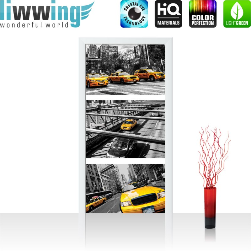 t r fototapete no 849 91x211 cm new york br cke taxi haus liwwing r ebay. Black Bedroom Furniture Sets. Home Design Ideas