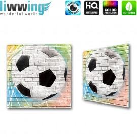 Glasbild ''no. 1356'' | Fußball Glasbild Sport Stein Mauer Kunst Sprayer bunt | liwwing (R)
