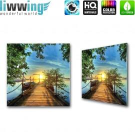 Glasbild ''no. 0636'' | Meer Glasbild Steg Wasser Sonnenuntergang blau | liwwing (R)