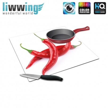 Herdabdeck- / Schneideplatte no. 4235 | Kulinarisches Chili, Peperoni, Gewürze, Schote rot | liwwing (R)