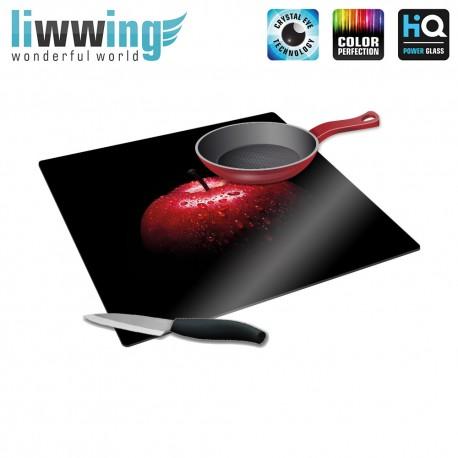 Herdabdeck- / Schneideplatte no. 4236 | Kulinarisches Apfel, Tau, Tropfen rot | liwwing (R)