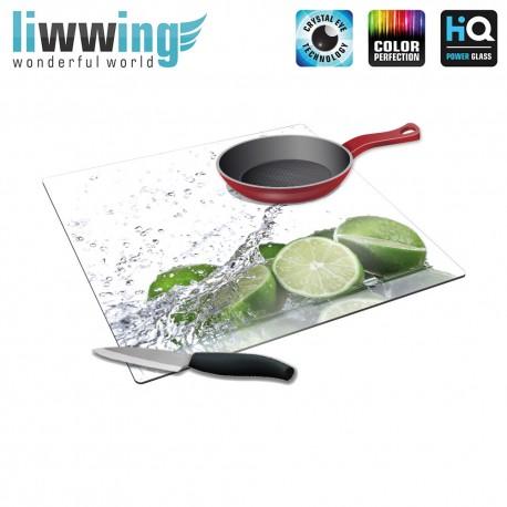 Herdabdeck- / Schneideplatte no. 4240 | Kulinarisches Limette, Tropfen, Spritzer grün | liwwing (R)