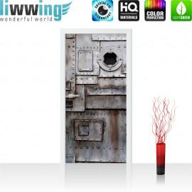 "Tür Fototapete ""no. 4251"" | 91x211 cm | Sonstiges Tür Metall Fabrik Rost Fenster | liwwing (R)"