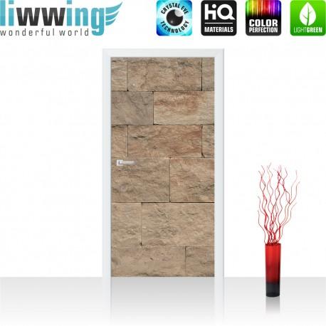 Tür Fototapete ''no. 4304'' | 91x211cm | Steinwand Tapete Steinoptik Sandstein Steine Wand 3D Steintapete | by liwwing (R)