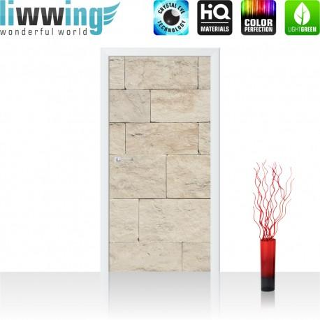 Tür Fototapete ''no. 4300'' | 91x211cm | Steinwand Tapete Steinoptik Sandstein Steine Wand 3D Steintapete | by liwwing (R)