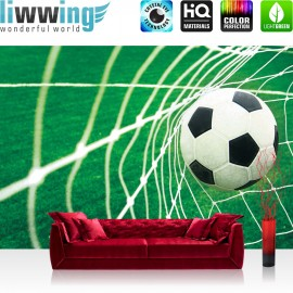 "Vlies Fototapete ""no. 272"" | Fußball Tapete Fussball Netz Wiese grün"