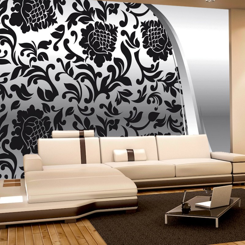 vlies fototapete no 275 ornamente tapete elegant barock grau blumig wohnzimmer schwarz wei - Fototapete Grau Wei
